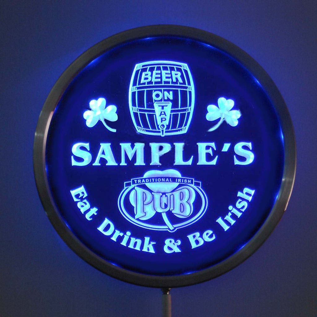 Irish Pub Name Personalized Round Custom LED Sign - Blue - TheLedHeroes