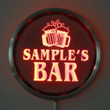 BAR Cheers Beer Name Personalized Round Custom LED Sign - Red - TheLedHeroes