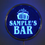 BAR Cheers Beer Name Personalized Round Custom LED Sign - Blue - TheLedHeroes