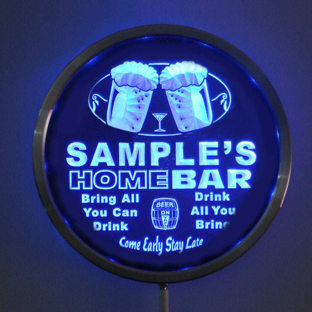 HOME BAR Name Personalized Round Custom LED Sign - Blue - TheLedHeroes