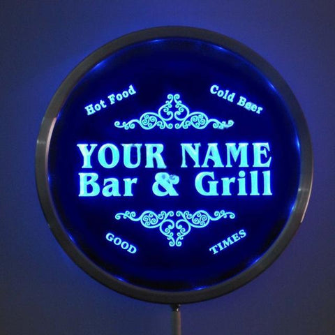 Bar & Grill Name Personalized Round Custom LED Sign - Blue - TheLedHeroes