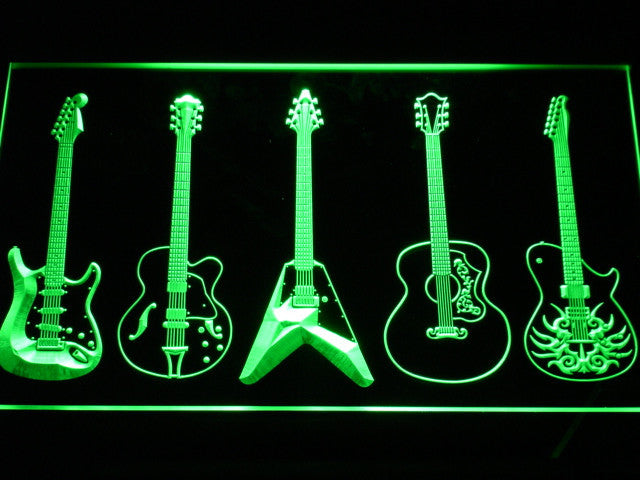 Guitar Weapons Band Room LED Sign - Green - TheLedHeroes