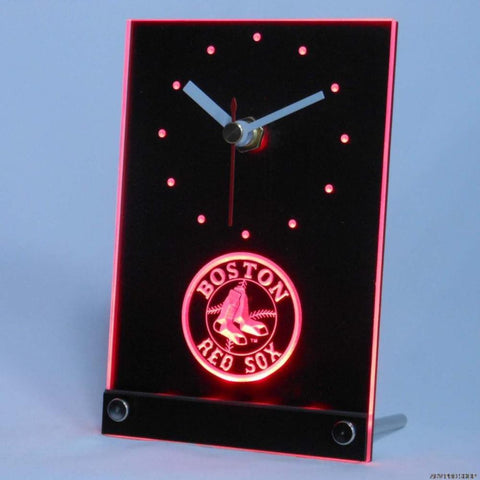 Boston Red Sox Table Desk 3D LED Clock - FREE SHIPPING - Red - TheLedHeroes