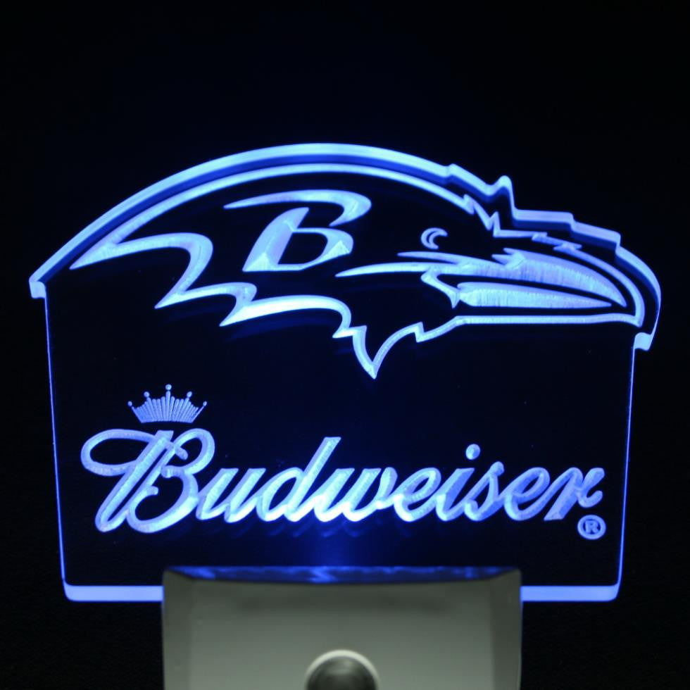 Baltimore Ravens Budweiser Bar Day/ Night Sensor Led Night Light Sign