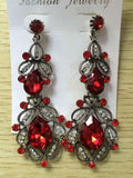 Long Crystal Drop Earrings - vintage red - TheLedHeroes