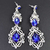 Long Crystal Drop Earrings - blue silver - TheLedHeroes