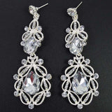 Long Crystal Drop Earrings - white silver - TheLedHeroes