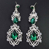 Long Crystal Drop Earrings - green silver - TheLedHeroes