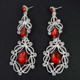 Long Crystal Drop Earrings - red silver - TheLedHeroes