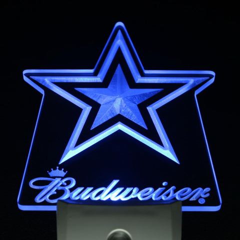 Dallas Cowboys Budweiser Bar Day/ Night Sensor Led Night Light Sign