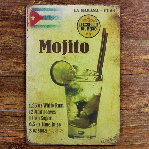 Mojito Cocktail Vintage Sign