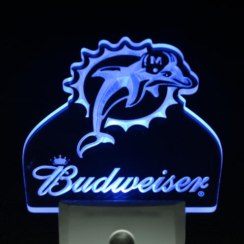 Miami Dolphins Budweiser Bar Day/ Night Sensor Led Night Light Sign