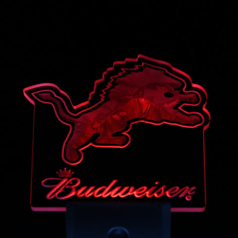 Detroit Lions Budweiser Bar Day/ Night Sensor Led Night Light Sign