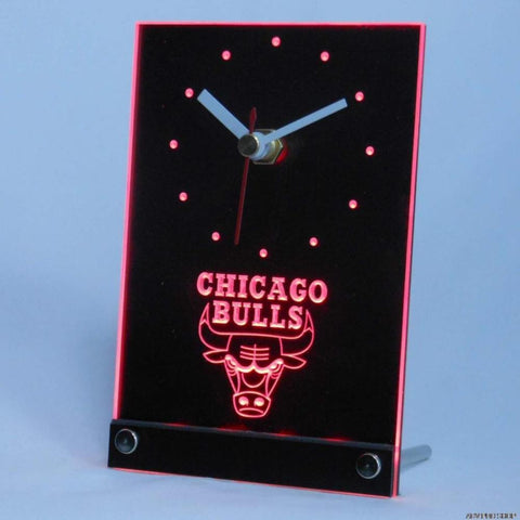 Chicago Bulls Desk LED Clock - Red - TheLedHeroes