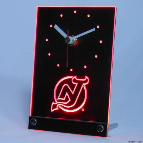 New Jersey Devils Desk LED Clock - Red - TheLedHeroes