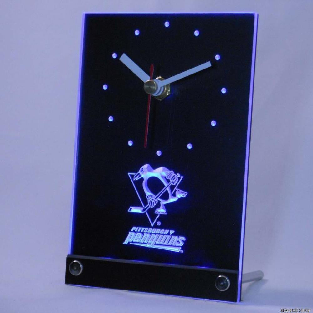 Pittsburgh Penguins Desk LED Clock -  - TheLedHeroes