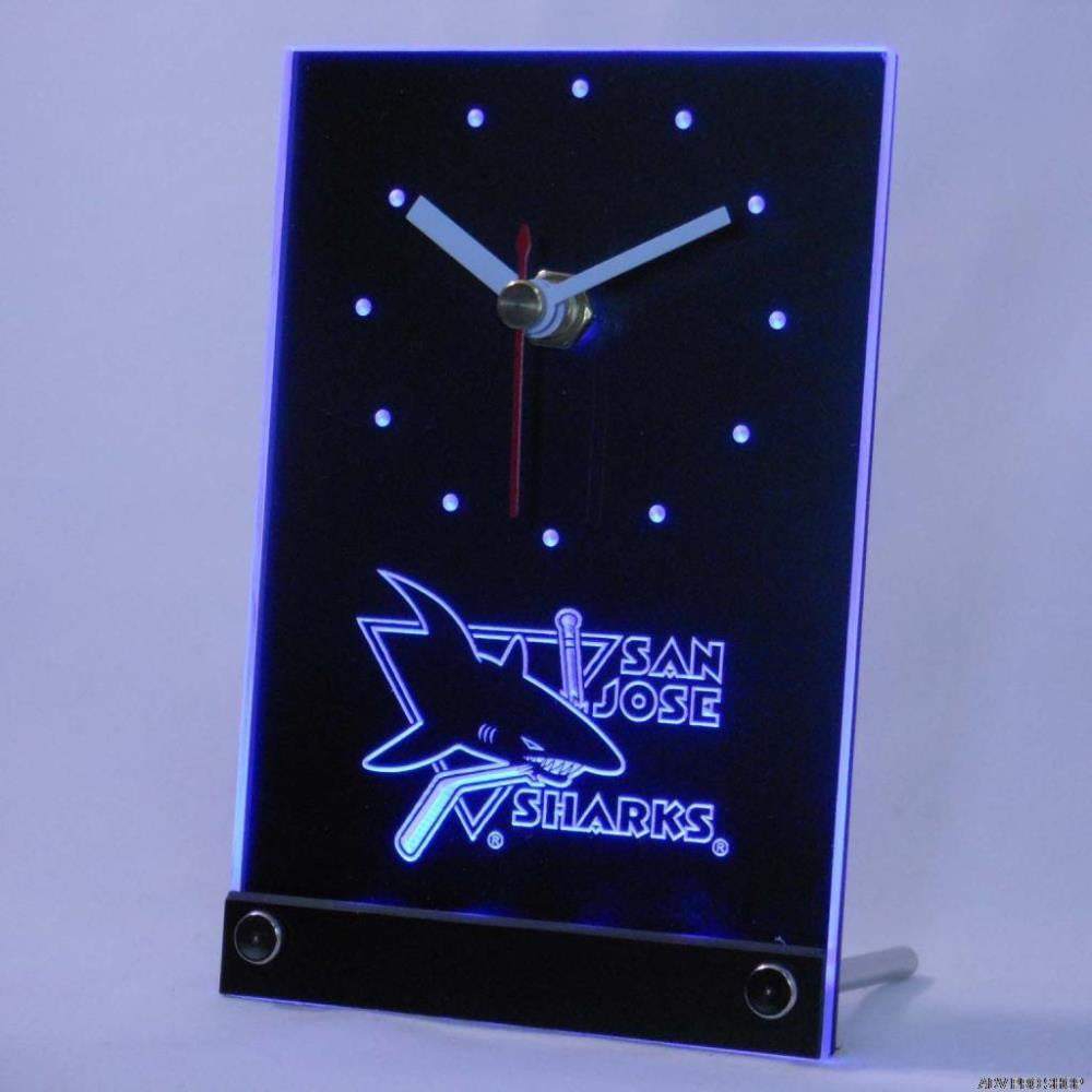 San Jose Sharks Desk LED Clock - Blue - TheLedHeroes