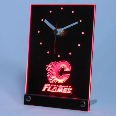 Calgary Flames Desk LED Clock -  - TheLedHeroes