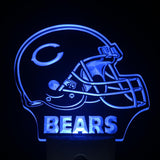 Chicago Bears Helmet Bar Day/ Night Sensor Led Night Light Sign