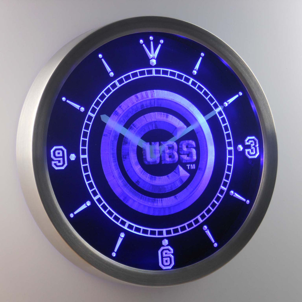 Chicago Cubs Sign LED Wall Clock