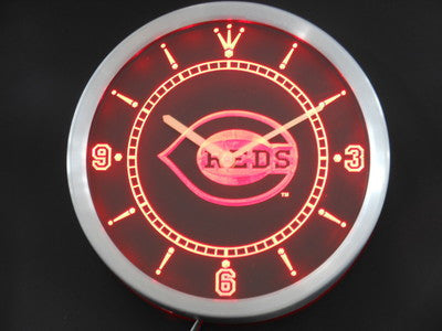 Cincinnati Reds Sign LED Wall Clock -  - TheLedHeroes