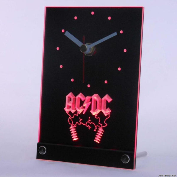 ACDC AC/DC Rock n Roll Bar Beer Table Desk 3D LED Clock