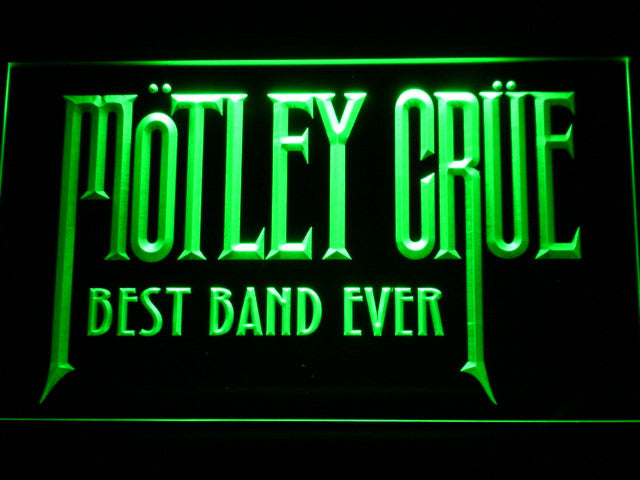 Motley Crue Best Band Ever LED Sign - Green - TheLedHeroes