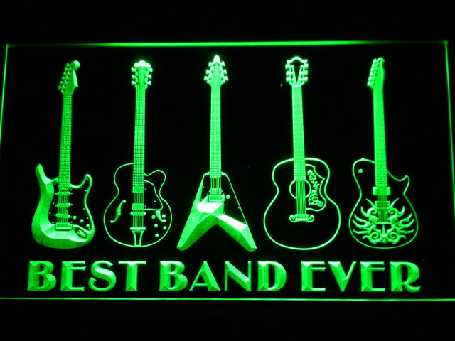 Guitar Weapon Best Band Ever LED Sign - Green - TheLedHeroes