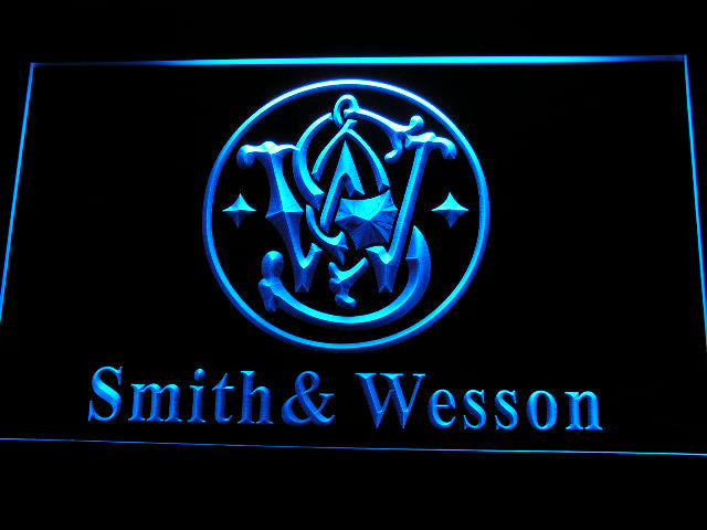 Smith Wesson Gun Firearms LED Sign - Blue - TheLedHeroes