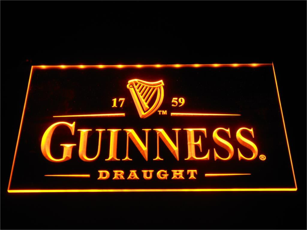 Guinness Vintage Logos Beer Bar LED Sign - Orange - TheLedHeroes
