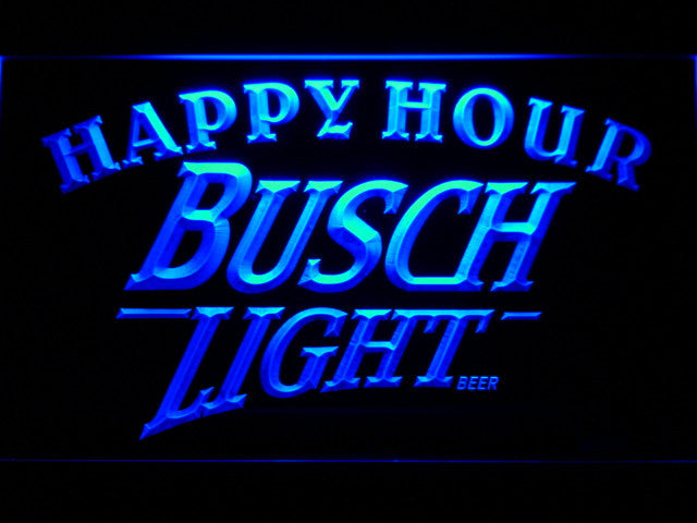Busch Light Beer Happy Hour Bar LED Sign - Blue - TheLedHeroes