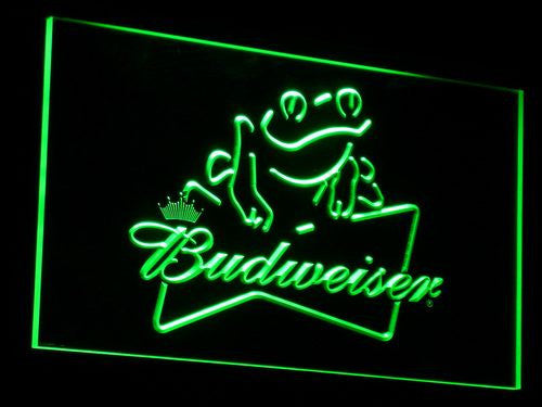 Budweiser Frog Beer Bar Pub LED Sign - Green - TheLedHeroes