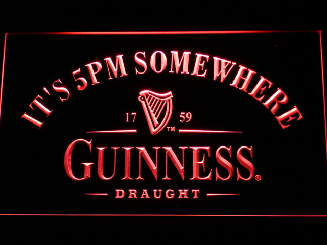 Guinness It's 5 pm Somewhere Bar LED Sign - Red - TheLedHeroes