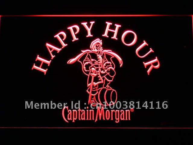 Captain Morgan Happy Hour LED Sign -  Red - TheLedHeroes