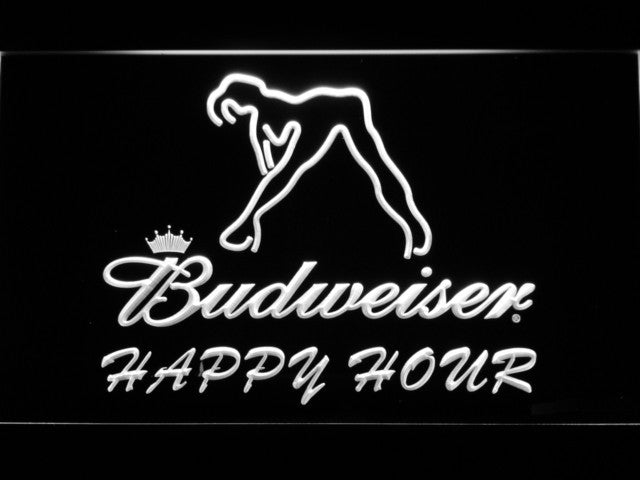 Budweiser Sexy Dancer Happy Hour Bar LED Sign - White - TheLedHeroes