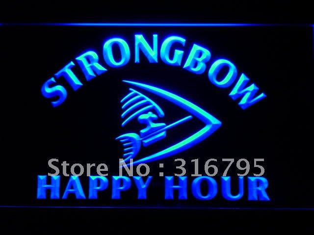 Strongbow Beer Happy Hour Bar LED Sign - Blue - TheLedHeroes