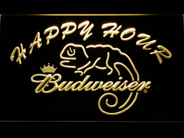 Budweiser Lizard Happy Hour Bar LED Sign - Multicolor - TheLedHeroes