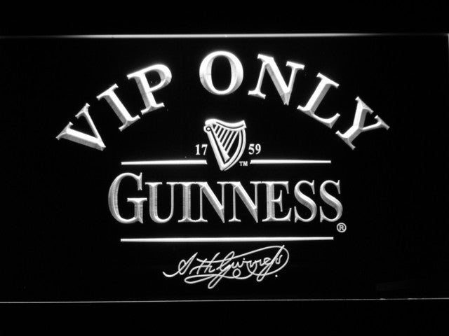 Guinness Beer VIP Only LED Sign - White - TheLedHeroes
