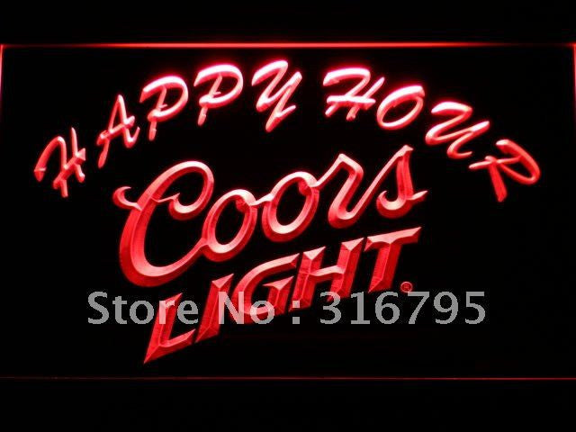 Coors Light Happy Hour Beer Bar LED Sign - Red - TheLedHeroes