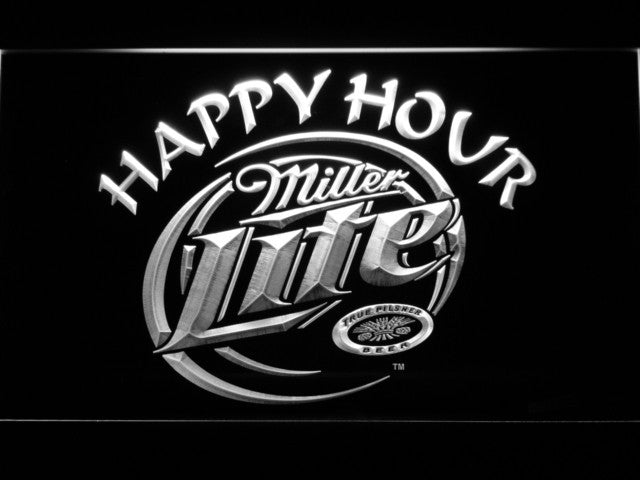 Miller Lite Happy Hour Beer Bar LED Sign - White - TheLedHeroes
