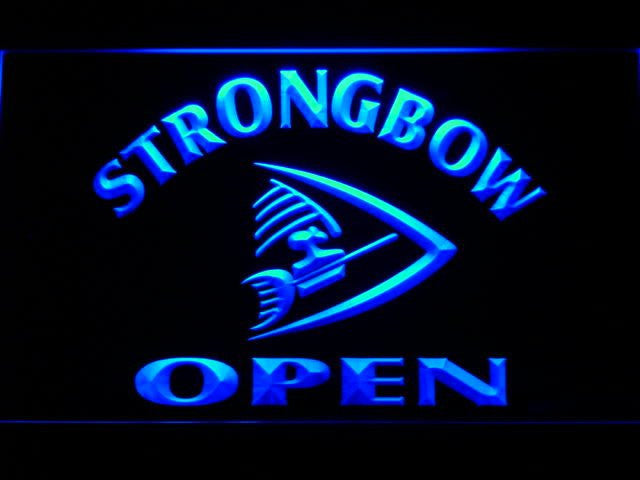StrongBow Beer OPEN Bar LED Sign - Blue - TheLedHeroes