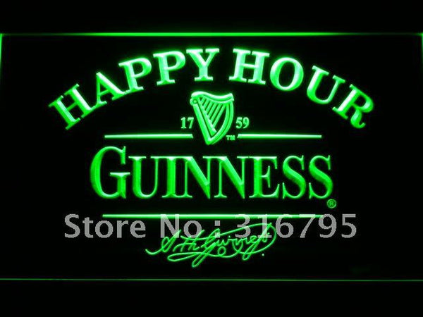Guinness Happy Hour Beer Bar LED Neon Sign