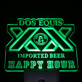 Dos Equis XX Happy Hour Beer Day/ Night Sensor Led Night Light Sign