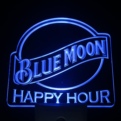 Blue Moon Happy Hour Beer Day/ Night Sensor Led Night Light Sign