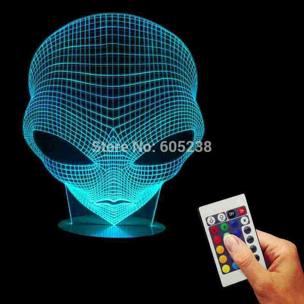 Free Shipping 3D Hologram Illusion Pop-eyed Alien Shape Lamp Acrylic Night Lamp With Color Changing and Remote Controller