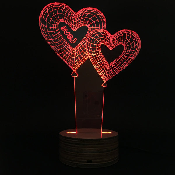 Free Shipping Wedding Gift Double Love Balloon Table Lamp Calming Night Light with Color Changing and Remote Controller
