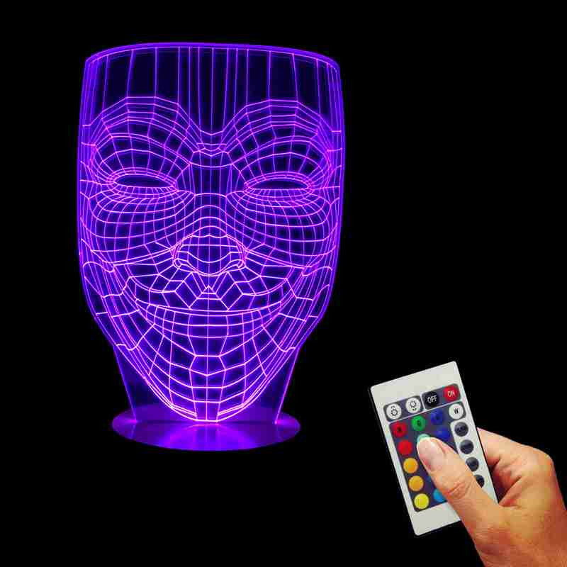 Anonymous Mask 3D LED LAMP -  - TheLedHeroes
