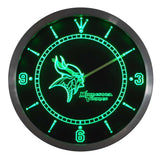 Minnesota Vikings Sign LED Wall Clock - FREE SHIPPING - Green - TheLedHeroes