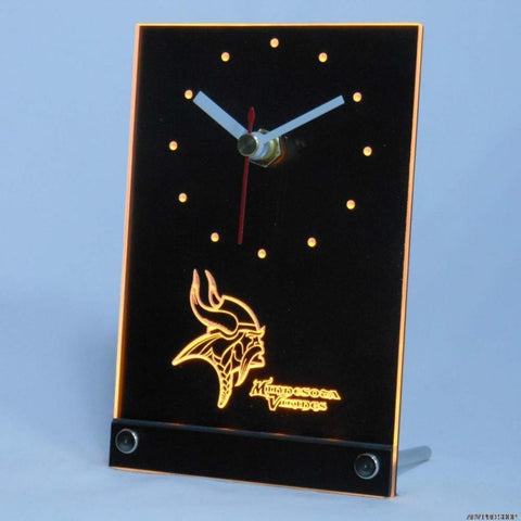 Minnesota Vikings Table Desk 3D LED Clock - FREE SHIPPING - Yellow - TheLedHeroes