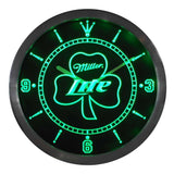 Miller Lite Shamrock Beer Bar LED Wall Clock